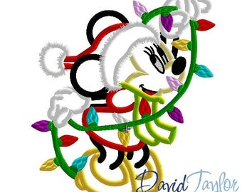 Christmas Lights Minnie - 4x4, 5x7, 6x10, 7x10 and 8x10 in 9 formats - Applique - Instant Download - David Taylor Digitizing