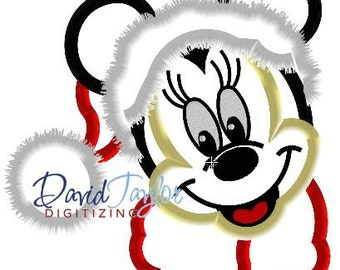 Minnie - Santa - Embroidery Machine Design - Applique -4x4, 5x7, 6x10  Instant Download - David Taylor Digitizing