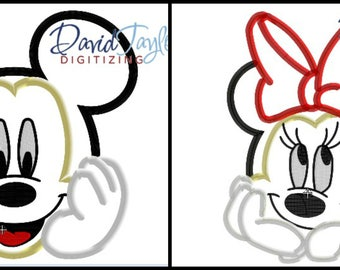 Mickey AND Minnie Bust Embroidery 2 Designs 4x4, 5x7, 6x10, 7x10, 8x10 9 formats-Applique Instant Download-David Taylor Digitizing