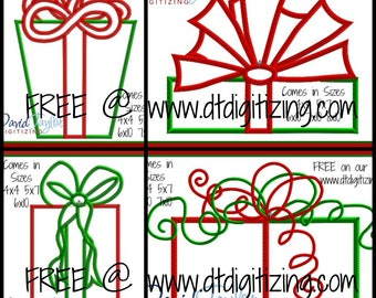 FREE on our website Christmas Gift 4 Pack Embroidery Design 4x4 5x7 6x10 7x10 9 formats-Applique Instant Download-DTDigitizing Holiday Santa