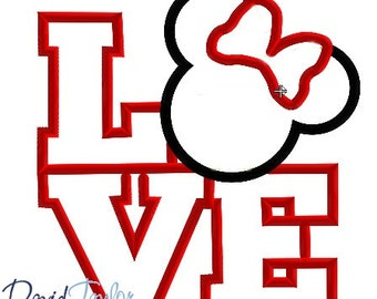 LOVE Minnie Embroidery Design - 4x4, 5x7, 6x10 and 8x8 in 9 formats - Applique - Instant Download - David Taylor Digitizing