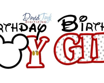 Birthday Girl Minnie and Boy Mickey 2 Design Pack - 4x4, 5x7, 6x10 in 9 formats - Applique - Instant Download - David Taylor Digitizing