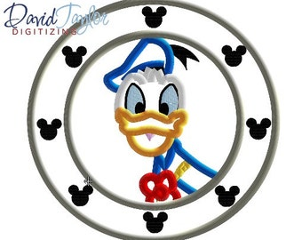 Porthole Donald  - 4x4, 5x7 and 6x10 in 7 formats - Applique - Instant Download - David Taylor Digitizing