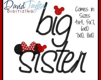 Big Sister Embroidery Design 4x4 5x7 6x10 7x10 8x10 in 9 formats-Applique Instant Download-DTDigitizing Little Family Sayings