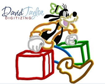 Traveling Goofy - 4x4, 5x7 and 6x10 in 7 formats - Applique - Instant Download - David Taylor Digitizing