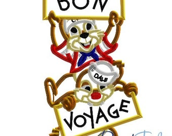 Chip and Dale Bon Voyage Disney Cruise Line 4x4, 5x7, 6x10 in 9 formats - Applique - Instant Download - David Taylor Digitizing