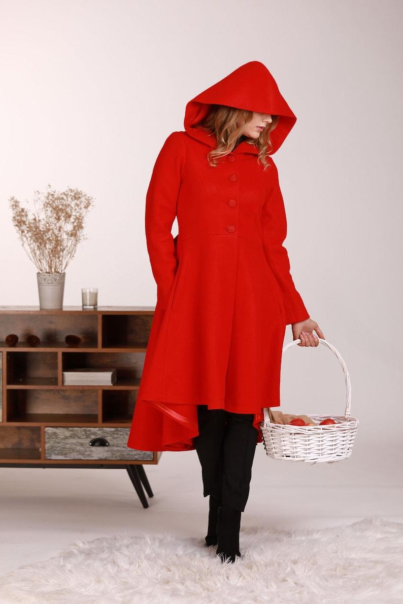 Elegant Wool Coat Wool Coat Red Hooded Coat Red Riding Hood Coat Plus Size Clothing Asymmetrical Coat Princess Coat Woolen Coat