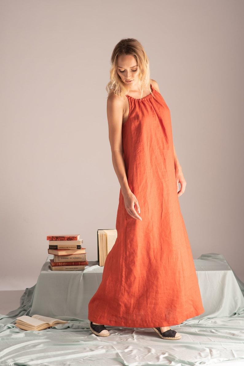 Burnt Orange Dress, Linen Maxi Dress, Summer Tank Dress, Desert Clothing,  Rust Dress, Plus Size Linen Dress, Terracotta Dress, Shift Dress