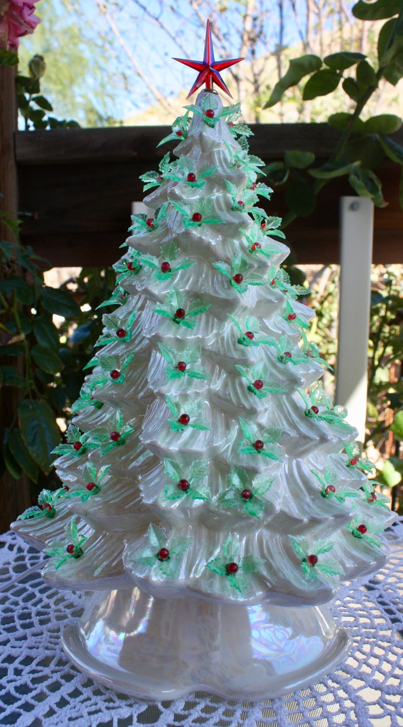 Ceramic Christmas Tree Lighted 15 Vintage Mold Blank White Mother Of Pearl With Vintage Style Green Holly Just Like Grandma Mom S 1508
