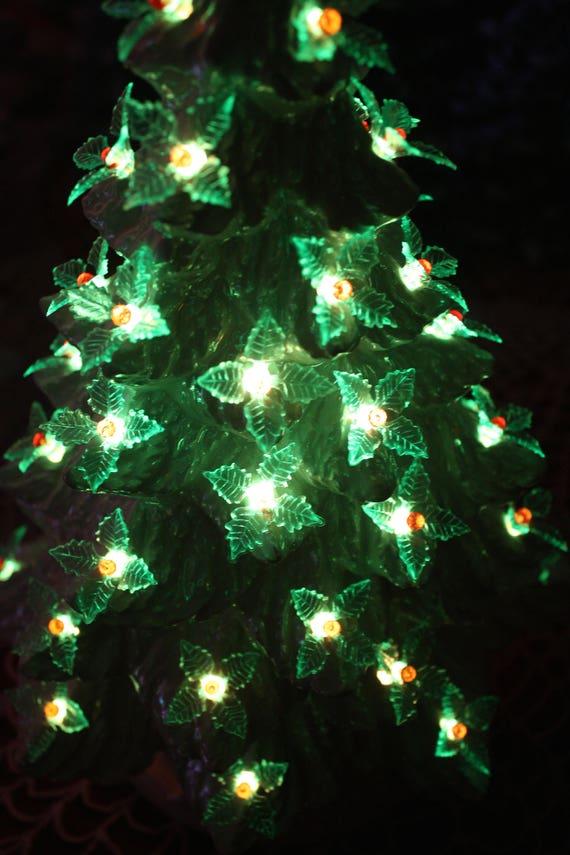 Ceramic Christmas Tree 15 Vintage Mold And Rainbow Luster Green Holly Retro Lights With Music Box Just Like Grandma Mom Made 1610