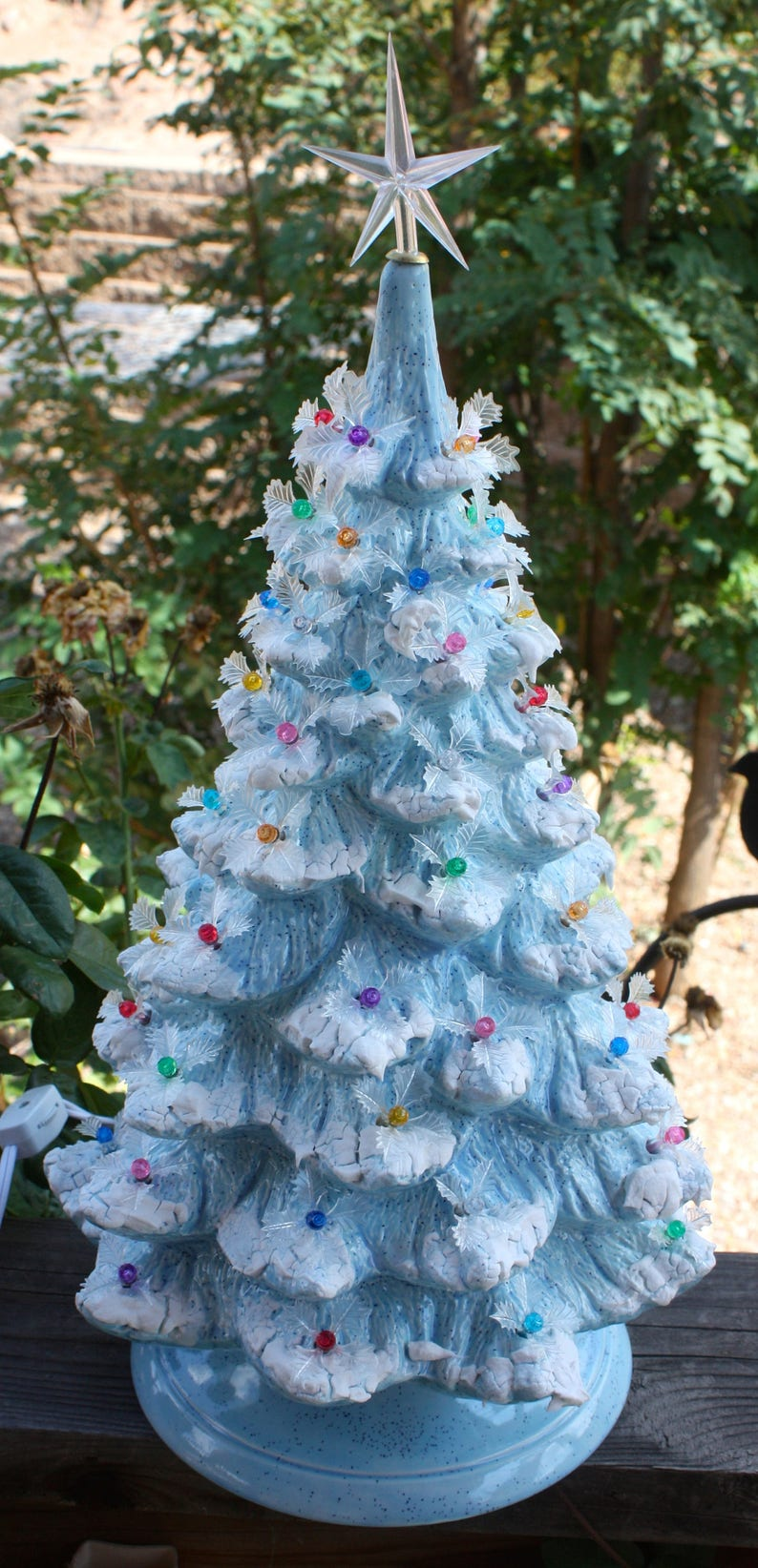 Ceramic Christmas Tree As Seen On Martha Stewart 19 Lighted Blue With Snow And Icicle Holly Like Grandma Mom S Vintage Mold Blank 1904