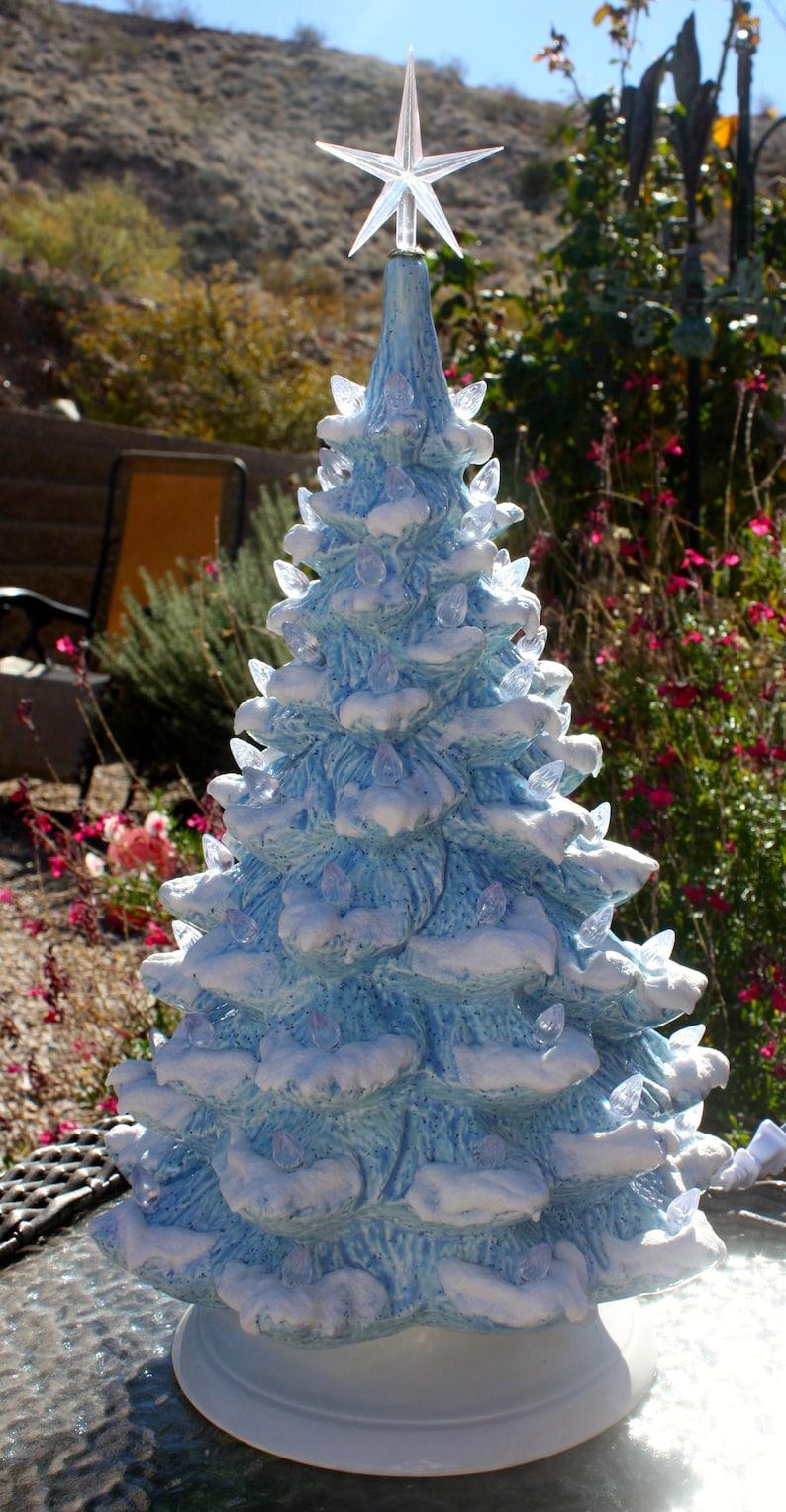 Ceramic Christmas Tree Vintage.19 Ceramic Christmas Tree Vintage Blue Glaze Lighted Just Like Grandma Mom S Vintage Mold Blank 1909