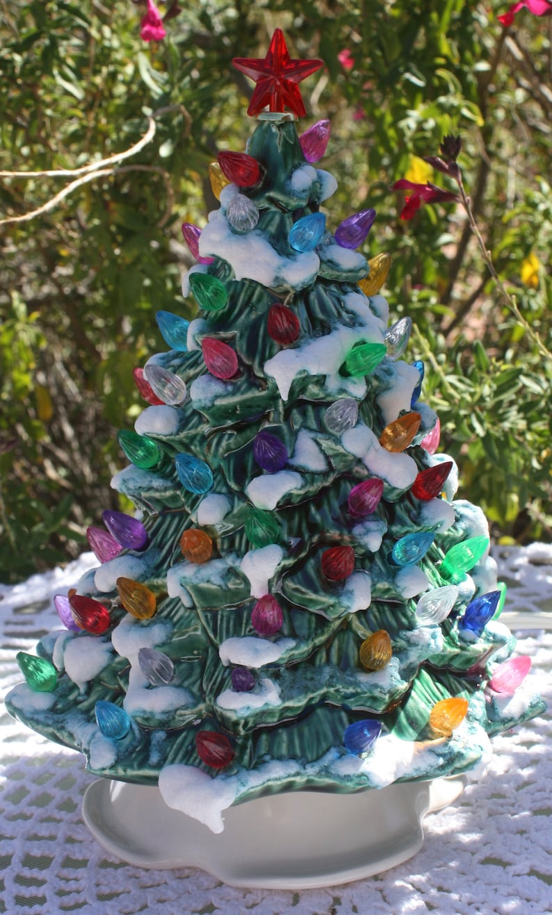 8 1 2 Ceramic Christmas Tree Lighted Green With Snow Etsy