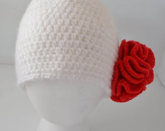 Adult Crochet Cap with Red Poppy