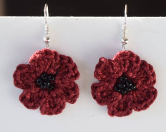 Burgundy Crochet Remembrance Poppy Earrings