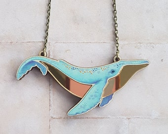 Gold Mirror Belly Humpback Whale Laser Cut Statement Necklace Jewelry - Ocean Whale Animal Nature Boho Mermaid Jewelry Necklace Gift