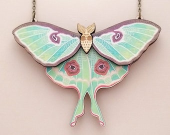 Luna Moth Statement Necklace - Laser Cut Wood Jewelry - Insect Butterfly Cottagecore Necklace - Birch Please