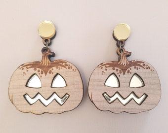 Halloween Pumpkin Earrings - Laser Cut Wood Acrylic Statement Jewelry - Spooky Fall Autumn Dangle Earrings - Surgical Steel, Clip On Option