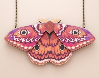 Emperor Moth Statement Necklace - Laser Cut Wood Cottagecore Jewelry - Goblincore Insect Bug Necklace - Birch Please