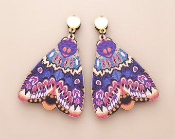 XL Lily Moth Statement Gold Drop Earrings - Laser Cut Wood Cottagecore Jewelry - Goblincore Insect Bug Dangle Earrings - Surgical Steel