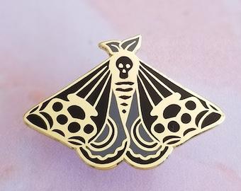 Deaths Head Moth Knuckleduster Hard Enamel Pin Badge