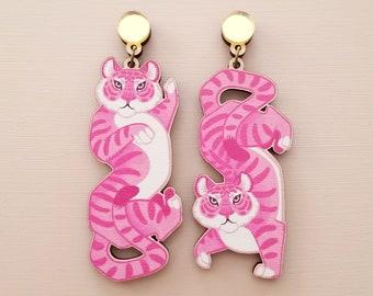 Pink Tiger Statement Earrings - Laser Cut Wood Acrylic Jewelry - Kitsch Animal Dangle Lesbian Earrings - Surgical Steel, Clip On
