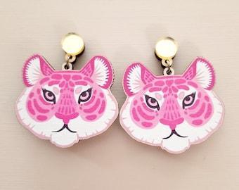 Kitsch Tiger Face Statement Earrings - Laser Cut Wood Acrylic Jewelry - Pink Animal Dangle Lesbian Earrings - Surgical Steel, Clip On