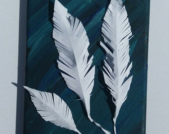 Paper Feathers on Canvas