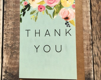 Floral Thank You A6 blank card, with kraft envelope