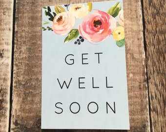 Floral Get Well Soon A6 blank card, with kraft envelope