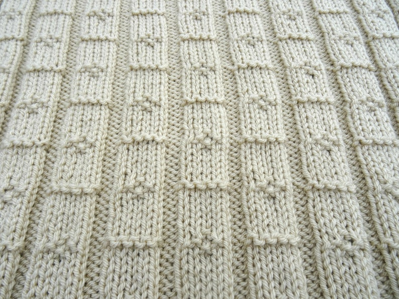 Easy Knitting Pattern Chunky Baby Blanket Diamond Lines Etsy