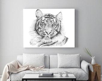 Lion Illustration Numerique Impression Realiste Dessin Au Etsy