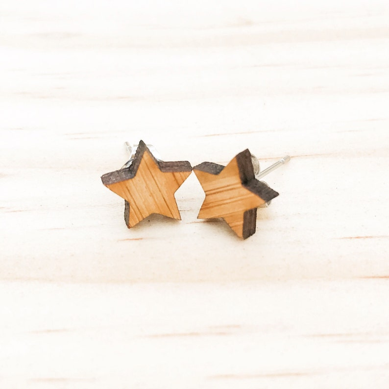 Earrings studs wood stars geometric bamboo plywood and hypoallergenic  surgical steel stud backing with butterfly clasp