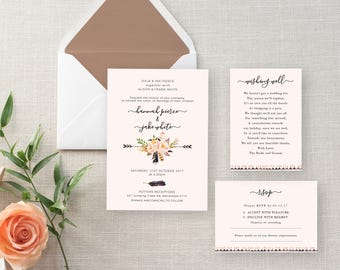 Invitation Package Dusk Pink and Floral Kit, Printable, Wedding Invite, RSVP, Wishing Well, Dusty Rose Floral Leaves DIY