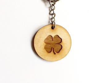 abdc62194ff Four leaf clover keychain wood disc with optional personalized back