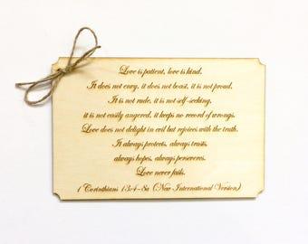 Wood wedding card 1 corinthians love is patient love is kind - romantic card