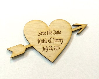 Wood save the dates heart and arrow engraved rustic save the date