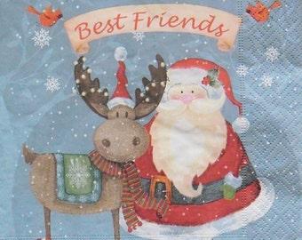 Set of 2 pcs 3-ply ''Best Friends'' paper napkins for Decoupage or collectibles 33x33cm, Santa Claus napkins, Christmas napkins, Servetten