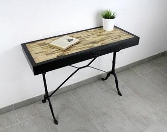 O bois recyclé fabrication artisanale d une console industrielle