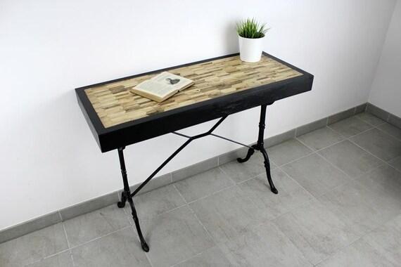 Table console bureau nitram en bois recyclé etsy