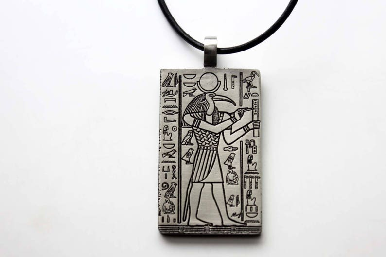 Thoth Djehuty Kemetic Kemet Ancient Egyptian Egypt God of Magic, Moon,  Scribes, Knowledge, Healing, Wisdom and Writing Pewter Pendant Choker