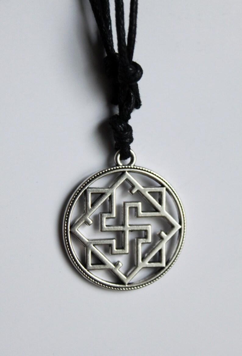 Silver Norse Viking Valkyrie Pendant Necklace Choker / Helm of Awe  Aegishjalmur Ægishjálmur / Vegvisir / Kolovrat / Rodimich / Odolen Trava
