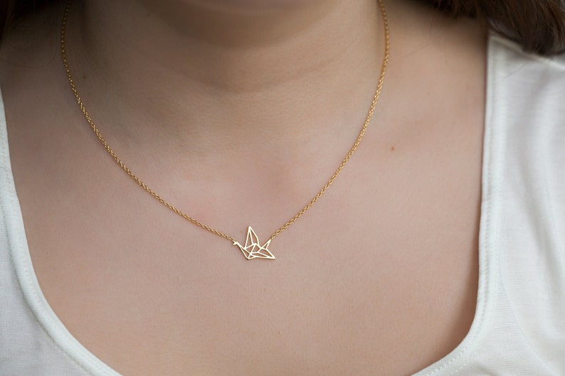 Origami Crane Necklace Gold Fill or Silver