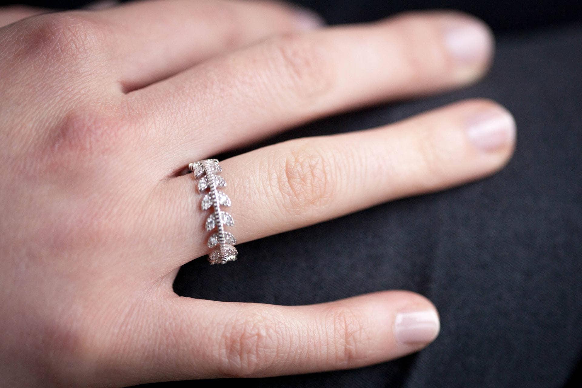 Sterling Silver Laurel Leaves Ring Silver CZ Leaf Ring