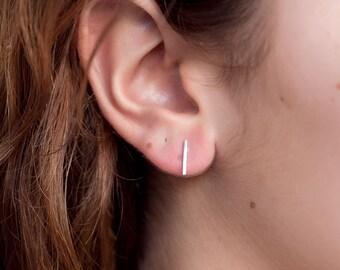 Tiny Line Earrings - Sterling Silver - Bar Earrings - Line Posts - Parallel Lines - Simple Staple Post Minimalist Thin Earrings