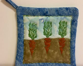 Carrot potholder--hand stamped and quilted