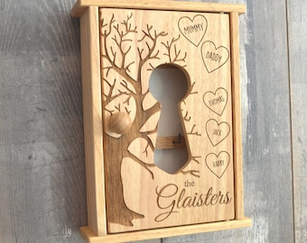 Personalised Family Tree Wooden Key Cabinet Cupboard Unique Gift Present  Idea   Rustic Personalized