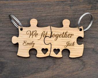 You Complete Me We Fit Together Personalised Valentines Love Jigsaw Keyring  Set a71af15c54