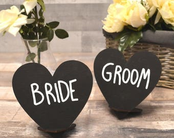 Wooden Heart Shaped Chalkboard Table Signs For Wedding Tables Black Chalk  Boards