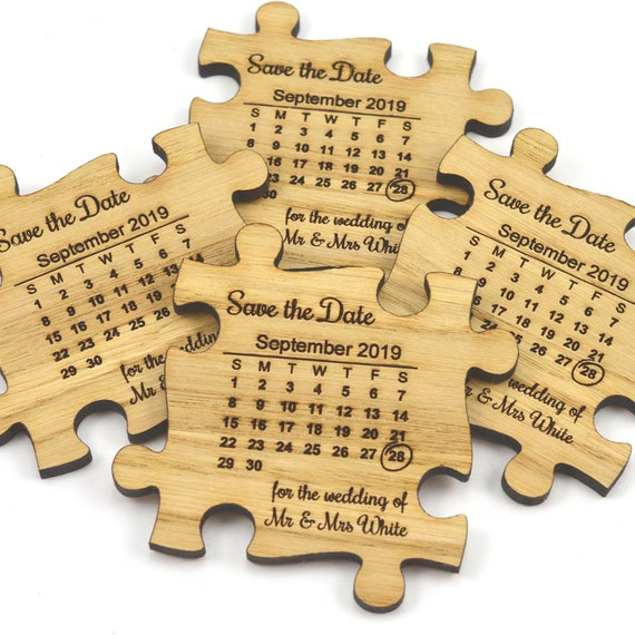 Wedding Save The Date Magnets - Wooden Jigsaw Puzzle Piece With Calendar